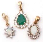 Mixed Lot: two opal and diamond surround small pendants, together with a green glass and paste set