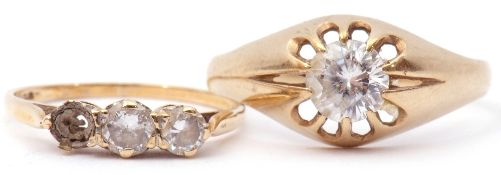 Mixed Lot: 9ct and paste set single stone ring, together with a 9ct gold and paste set ring (one