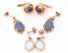Mixed Lot: three pairs of modern yellow metal earrings, opalescent, opal doublet and a pair of