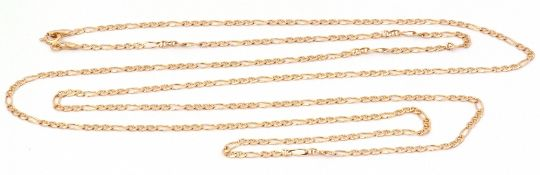 9ct gold flattened curb link chain, 45cm fastened, 5.9gms