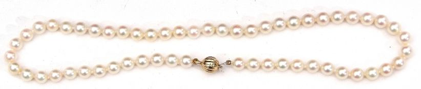 Cultured pearl necklace, a single row of uniform beads, 6mm diam, to a 375 stamped ball clasp,