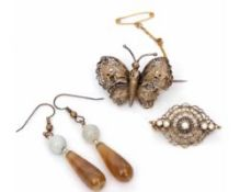 Mixed Lot: pair of agate drop earrings, gilt metal filigree butterfly brooch and one other gilt
