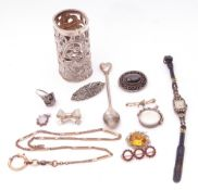 Mixed Lot: hallmarked silver pierced sleeve, Birmingham 1903, ladies vesta, paste set watch, 925