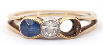 Antique diamond and sapphire ring, centring a brilliant cut diamond in rub-over setting and one oval