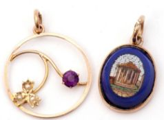 Mixed Lot: small oval micro-mosaic pendant depicting a temple in a 9ct gold mount, together with a