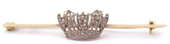 Vintage diamond set Naval crown brooch, the crown set throughout with small rose cut diamonds,