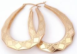 Pair of large hoop creole style earrings with engraved decoration, 3.8cm diam, 5.8gms g/w