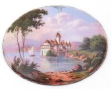 Antique oval enamel plaque, hand painted with a lake landscape scene, 4cm x 3cm, verso printed ""