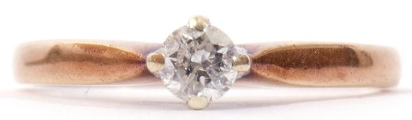 9ct gold solitaire diamond ring, the brilliant cut diamond 0.25ct approx, cardinal set and raised