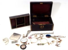 """Victorian leather jewellery box and contents to include vintage pedometer, """"yards and miles"""""""