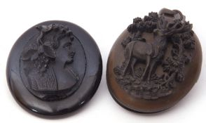 Mixed Lot: Victorian vulcanite large oval mourning locket applied with a carved study of a stag in a