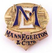 "Early 20th century 9ct gold and enamel ""Mann Egerton Co Ltd"" buttonhole badge, Birmingham 1919,"