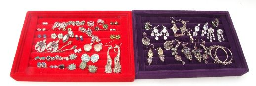 Two trays of mainly white metal jewellery to include various rings and earrings