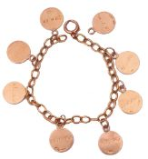 Yellow metal curb link bracelet suspending seven 9ct gold circular pendants, each with