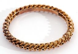 15ct stamped hinged bracelet of oval form, a curb link and bead design with presentation engraved