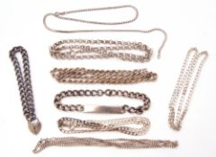Mixed Lot: hallmarked silver identity bracelet together with six white metal necklaces and a 925