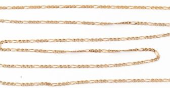 A 375 stamped modern Figaro necklace, 45cm long, 5.8gms