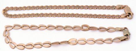 Mixed Lot: two yellow metal modern bracelets, both stamped 375, g/w 6.9gms
