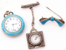 Mixed Lot: late 19th century enamel cased fob watch, the enamel dial with Arabic numerals, the