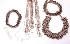Mixed Lot: quantity of white metal (925) chains, a large white metal beaded fringe necklace,