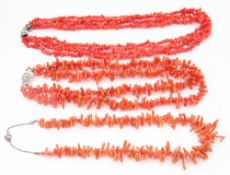 Mixed Lot: three vintage stag coral necklaces