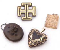 Mixed Lot: antique pique heart pendant, typically inlaid with a gold design, vulcanite oval