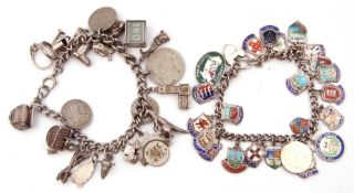 Mixed Lot: two silver curb link bracelets suspending various charms to include enamelled examples,