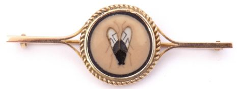 "Antique ""fly"" brooch, the circular panel with stone, glass and painted fly, in a rope twist frame,"