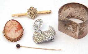 "Mixed Lot: Elizabeth II silver serviette ring, London 1956, engraved ""S.A.M."", maker's mark for"