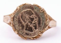 """Vintage 9ct gold and Mexican token ring with a """"Emperador Maximiliano"""" coin, size K, g/w 1.8gms"""