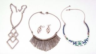 Mixed Lot: Mexican modern white metal stone inlaid necklace, pair of white metal basket earrings,