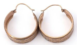Pair of 9ct gold wide hoop earrings, a textured square geometric design, hook fittings, 3.2gms