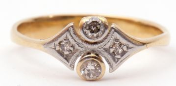 Art Deco four-stone diamond ring, a design featuring two bezel set old cut diamonds and two small