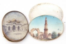 Mixed Lot: two Mogul School miniatures, hand decorated with temples, 3 x 2.5cm each (2)