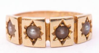 Edwardian 15ct gold and seed pearl ring, size J, 2.6gms approx