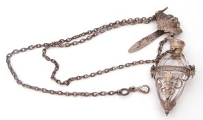 Antique metal chatelaine suspending a clip and a faceted glass tear drop scent bottle, hinged lid