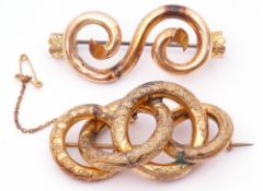 """Mixed Lot: yellow metal """"S"""" scroll brooch (a/f) with a steel pin fitting, g/w 4.9gms, together"""
