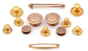 Mixed Lot: eleven 9ct stamped gents studs/buttons together with two yellow metal pin brooches, g/w