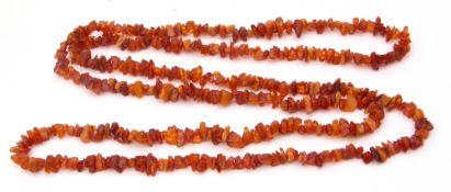 Long single row natural amber necklace, Cognac colour, fragment design, 76cm long, g/w 70.7gms