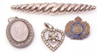 """Mixed Lot: white metal oval hinged locket, a paste set heart pendant, a sterling stamped brooch, """""""