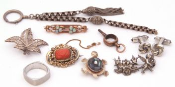 Mixed Lot: vintage opal set brooch (a/f), a late 19th century gold filled carved coral scroll
