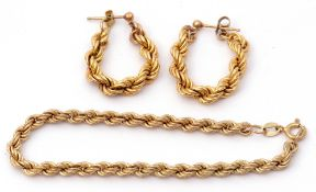 Mixed Lot: 9ct gold rope twist bracelet, pair of similar earrings, 5.8gms