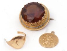 Mixed Lot: vintage yellow metal and enamel citrine brooch, the round faceted citrine raised in a
