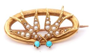 Antique 15ct stamped seed pearl and turquoise swallow bird brooch, the oval toned brooch with two