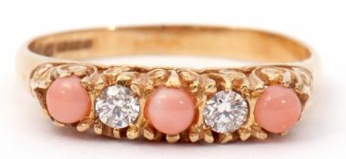 Antique diamond and coral set ring, alternate set with three small coral stones and two small