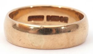 9ct gold wedding ring of plain polished design, size S/T, 6.4gms
