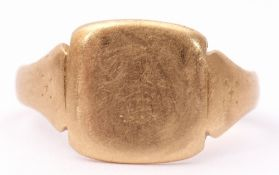 18ct stamped signet ring, the plain square panel raised between tapering shoulders, size K, g/w 3.