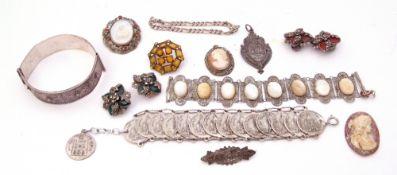 "Mixed Lot: cased silver ""Margaret"" brooch, Birmingham 1916, a 950 stamped hinged bracelet,"