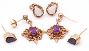 Mixed Lot: three pairs of 9ct gold earrings, amethyst, opal, and blue stone set (3)