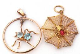 Mixed Lot: yellow metal spider's web pendant centring a spider with a red cabochon stone body,